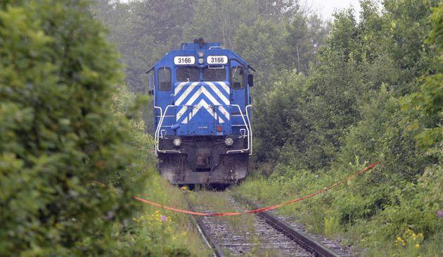 Image du train pétrolier à l'originedu déraillement dévastateur qui...
