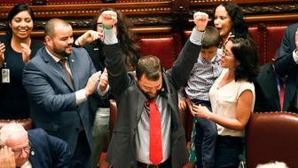 Sen. Luis R. Sepulveda, D-Bronx, center, celebrates after his legislation sponsoring the Green Light Bill granting undocumented immigrant driver's licenses was passed by the Senate during a session at the state Capitol, Monday, June 17, 2019, in Albany, N.Y. (AP Photo/Hans Pennink)