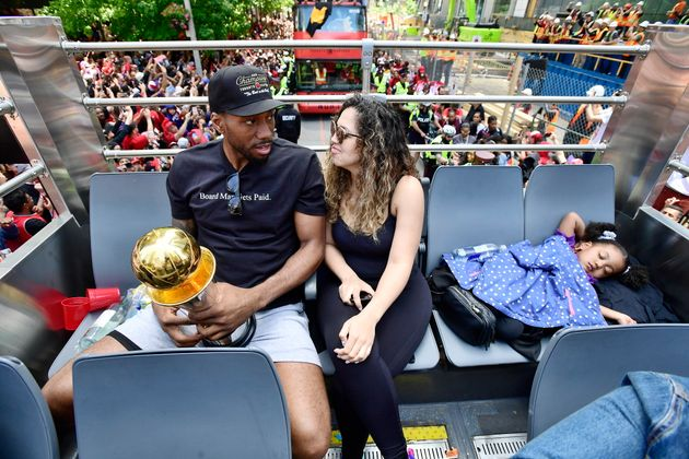 Kawhi Leonard's daughter sleeps like it's NBD during the Toronto Raptors victory parade in Toronto on...
