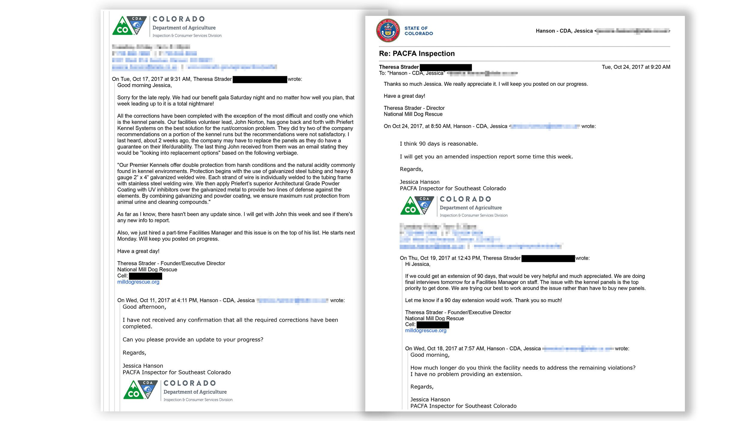 An email exchange about certificates of veterinary inspection between Theresa Schrader and Colorado state regulators.
