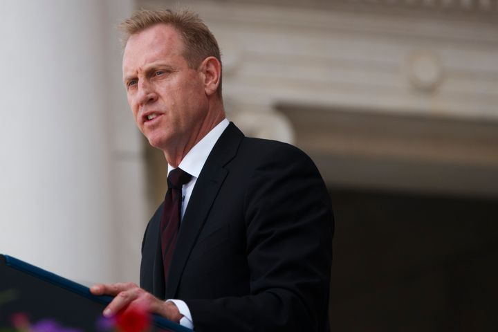 Then-acting Secretary of Defense Patrick Shanahan delivering remarks during a Memorial Day ceremony at Arlington National Cem
