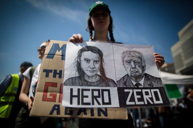 Las imágenes del presidente de EEUU, Donald Trump, y de la activista sueca por el clima Greta...