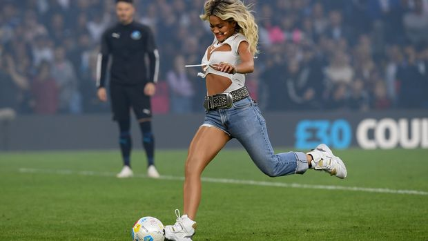 LONDON, ENGLAND - JUNE 16:   Rita Ora performs during the  Soccer Aid for UNICEF 2019 - England v Soccer Aid World XI at Stamford Bridge on June 26th, 2019 in London, England. (Photo by Darren Walsh/Chelsea FC via Getty Images)