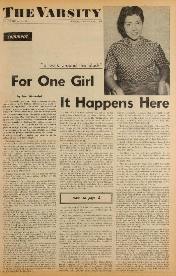 Black student Barbara Arrington was barred from joining a Toronto sorority, as detailed in this article published in The Varsity's Sept. 24, 1959 issue.