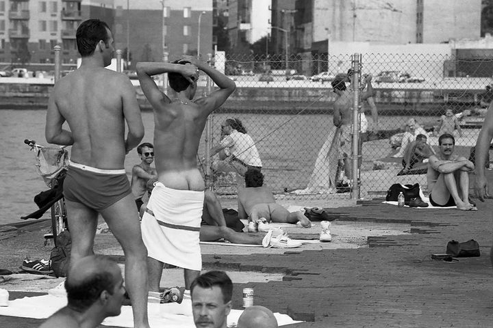 Stanley Stellar uses his camera to capture many aspects of gay life, including the congregation of men at the piers on Manhat
