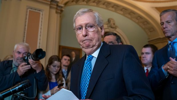 Senate Majority Leader Mitch McConnell, R-Ky., joined by his GOP leadership team, answers reporters on Iran and the withdrawal of acting Defense Secretary Patrick Shanahan, during a news conference at the Capitol in Washington, Tuesday, June 18, 2019. (AP Photo/J. Scott Applewhite)