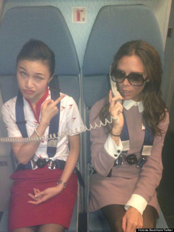 Victoria Beckham Poses As Air Hostess