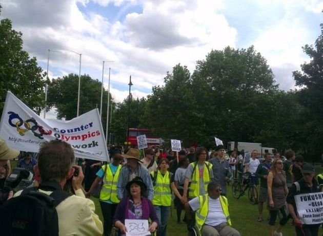 Counter-Olympics Protest: Hundreds March Through Tower Hamlets Demonstrating Against 'Corporate