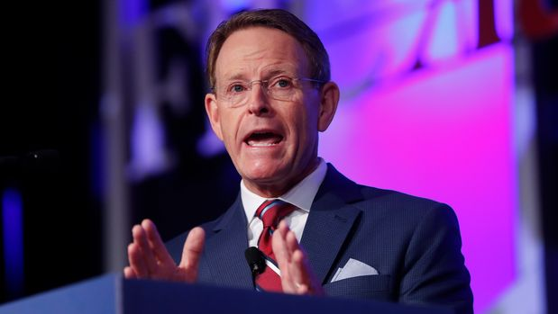 Family Research Council president Tony Perkins speaks to the 2018 Values Voters Summit in Washington, Friday, Sept. 21, 2018. (AP Photo/Pablo Martinez Monsivais)