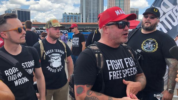 A group of Proud Boys gathered outside the Amway Center in Orlando on June 18, 2019 for President Donald Trump's formal launch of his re-election campaign.