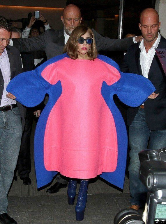 Lady Gaga Covers Up In Bizarre Dress As She Responds To 'Fat' Jibes