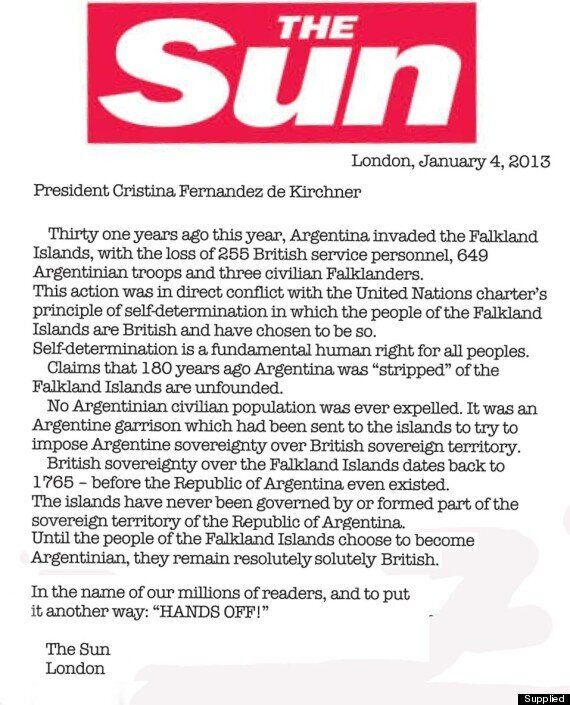 Falklands Row: The Sun Publishes 'Hands Off' Advert In Argentina's Buenos Aires
