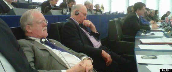 Roger Helmer, UKIP MEP, Falls Asleep During Brussels Debate