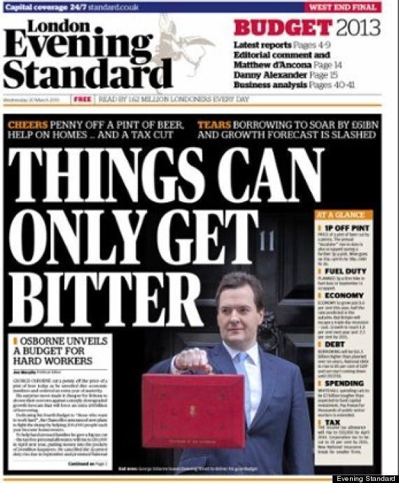 Budget 2013: Evening Standard Apologises For Leaking Front Page On