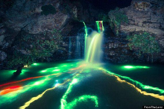 Glow Stick Photography: Stunning 'Neon Luminance' Waterfall