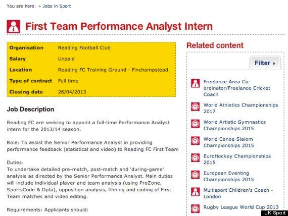Reading Criticised For Unpaid Performance Analyst