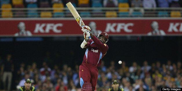 BRISBANE, AUSTRALIA - FEBRUARY 13: Chris Gayle of West Indies bats during the International Twenty20...