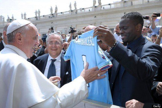 Francesco Totti And Louis Saha Meet Pope Francis