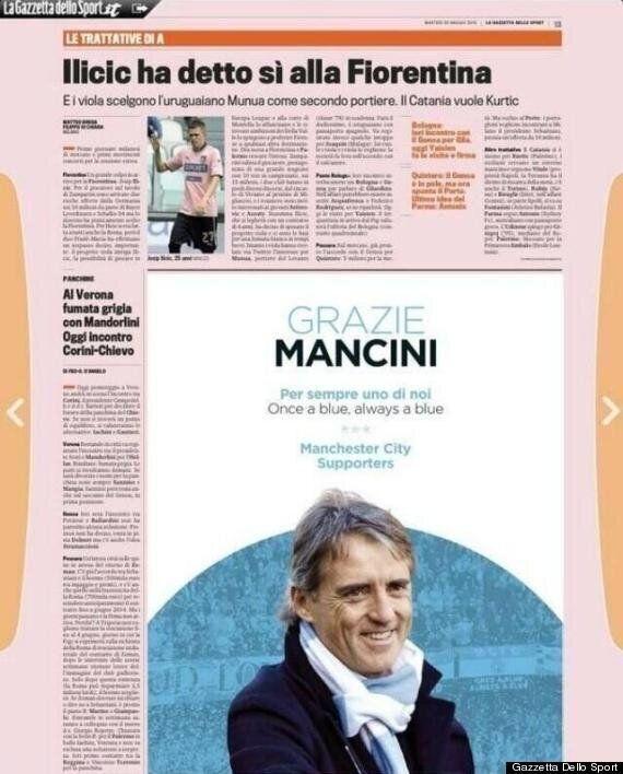 Manchester City Thank Roberto Mancini With Advert