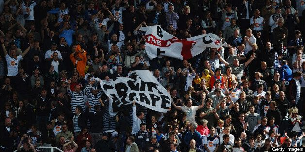 STOKE ON TRENT, ENGLAND - MAY 13: Bolton Wanderers fans celebrate during the Barclays Premier League...