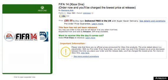 FIFA 14 £90? Xbox One Amazon Pre-Order Listing Causes