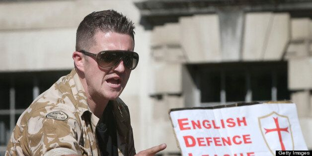 LONDON, ENGLAND - MAY 27: English Defence League (EDL) leader Tommy Robinson speaks to supporters during...