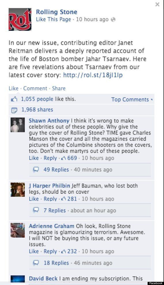 Rolling Stone's Cover Featuring Boston Bomb Suspect Dzhokhar Tsarnaev Is Branded