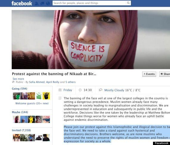 Protest Over Muslim Students Banned From Wearing Veils At Birmingham