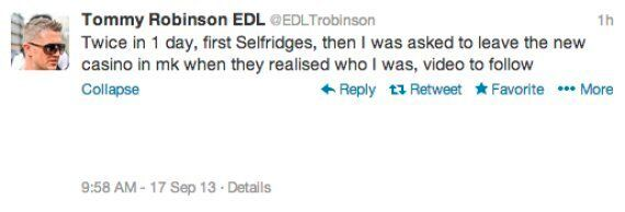 EDL Leader Tommy Robinson 'Thrown Out Of