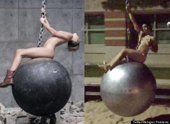 Students' Miley Cyrus Wrecking Ball Imitations See GVSU Take Down