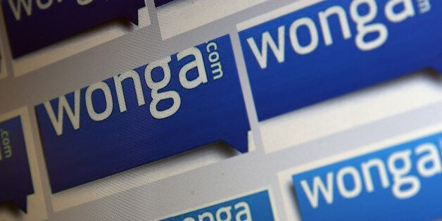 LONDON, ENGLAND - SEPTEMBER 03: In this photo illustration, a series of 'Wonga' logos are shown on a...