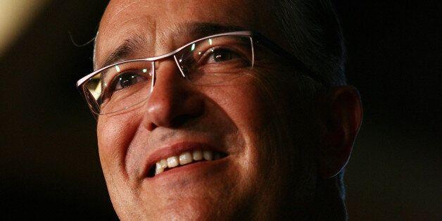 MEXICO CITY, MEXICO - MARCH 22: Ricardo Salinas Pliego, General Director of Aztec Television speaks during...