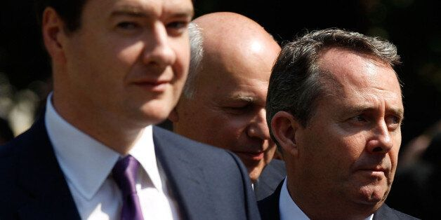 LONDON, ENGLAND - JULY 04: Chancellor George Osborne, Work and Pensions Secretary Iain Duncan Smith and...