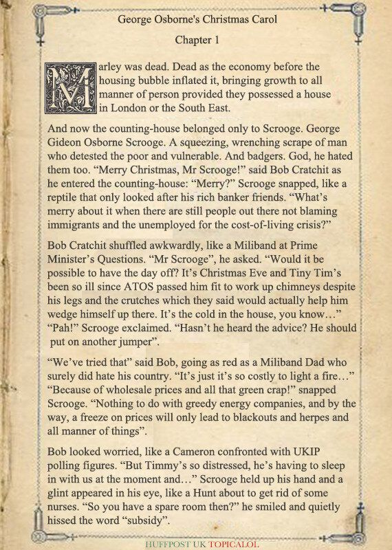 Page One Of George Osborne's Christmas