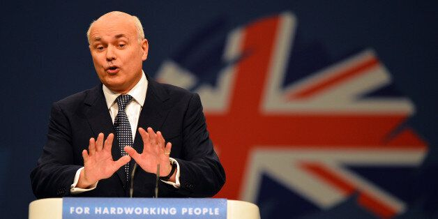 Iain Duncan-Smith, Secretary of State for Work and Pensions, addresses delegates at the annual Conservative...