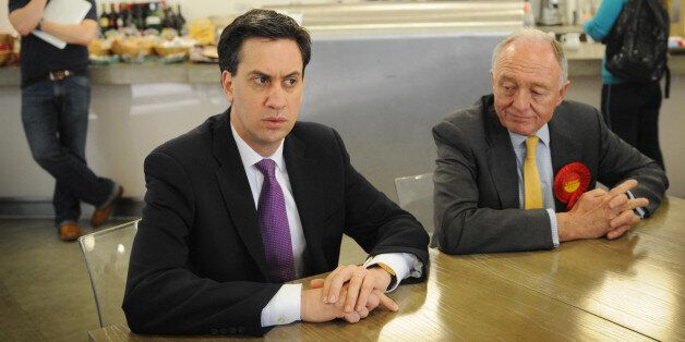 London Mayoral candidate Ken Livingstone at Kennington Business Park in south London where he and Labour...