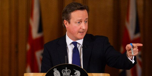 Prime Minister David Cameron addresses the media during a press conference in 10 Downing Street, London,...