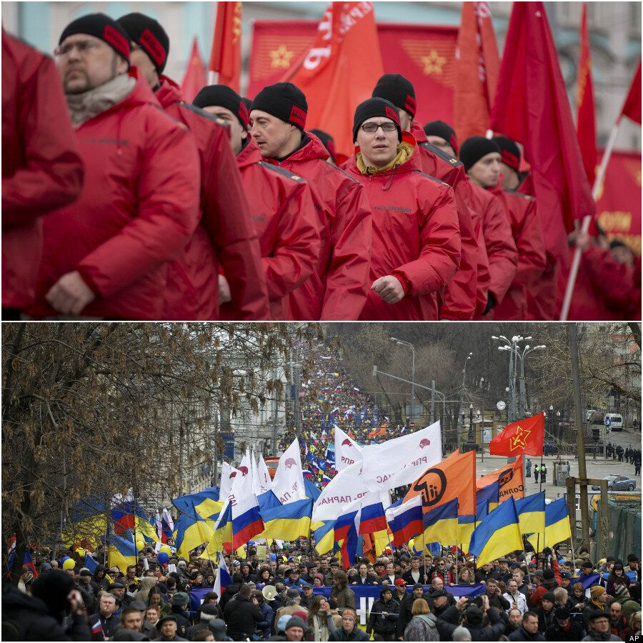 Anti-Putin 'March Of Peace' Triggers Rival Pro-Kremlin Protest In Moscow's Red Square (PICTURES,