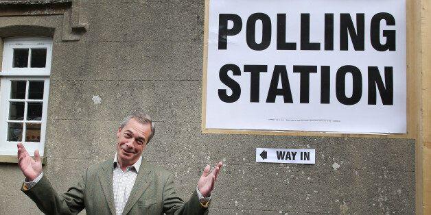 BIGGIN HILL, UNITED KINGDOM - MAY 22: United Kingdom Independence Party (UKIP) leader Nigel Farage gestures...