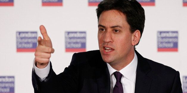 Labour Party Leader Ed Miliband delivers a speech on Britain's future in Europe at the London Business