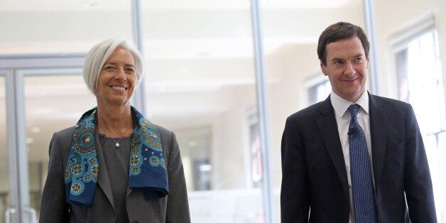 George Osborne, U.K. chancellor of the exchequer, right, and Christine Lagarde, managing director of...