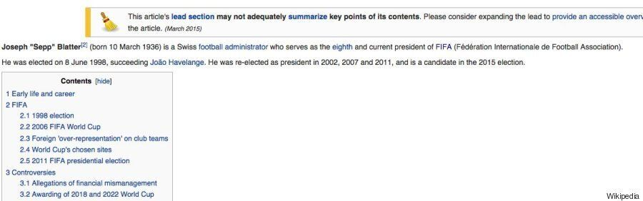 Sepp Blatter's Wikipedia Page Had A Bit Of A Re-Write Ahead Of Fifa Presidential