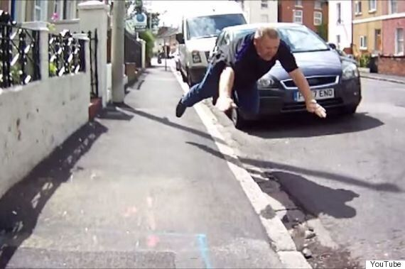 Reading Driver Comically Falls Over After Angry Row With