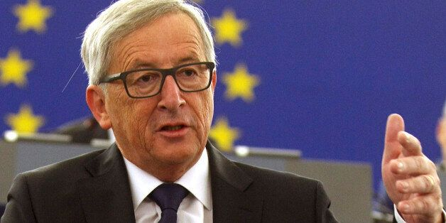European Commission's President Jean-Claude Juncker announces quote plan for refugees as he makes his...