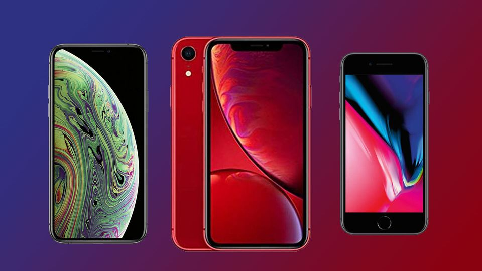 De gauche à droite, l'iPhone X, l'iPhone Xr et l'iPhone