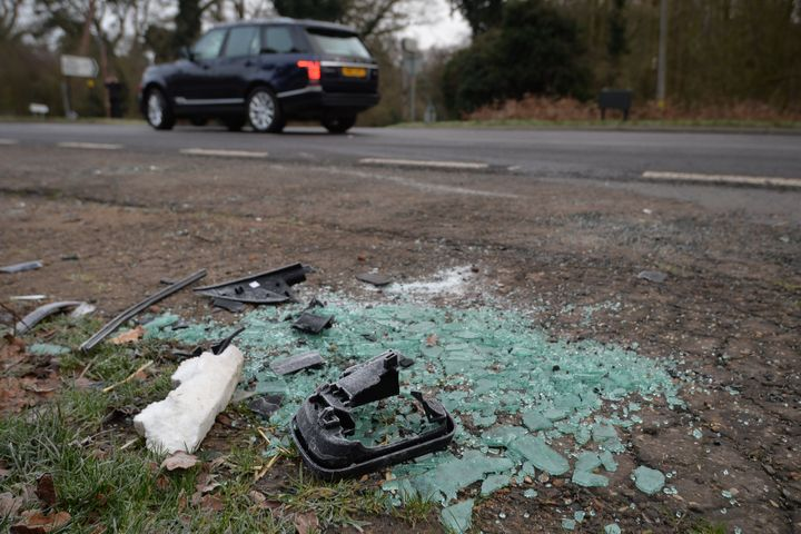 Broken glass and car parts on the side of the A149 near to the Sandringham Estate where the Duke of Edinburgh was involved in