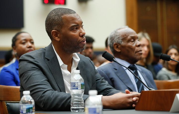 Writer Ta-Nehisi Coates delivers remarks before a House panel on Wednesday.