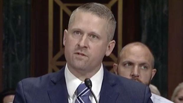 District court nominee Matthew Kacsmaryk testifies in his Senate confirmation hearing in Dec. 2017.