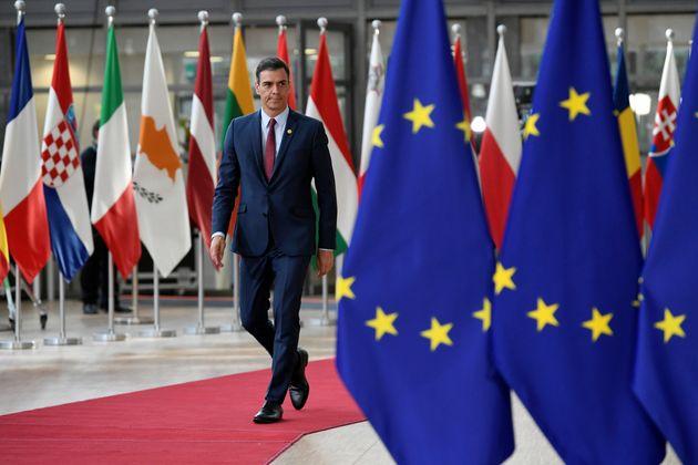 Pedro Sánchez llega a la reunión de líderes europeos en Bruselas del pasado 28 de...