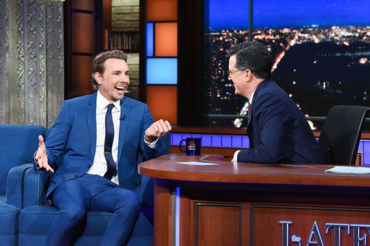 """The Late Show with Stephen Colbert"" and guest Dax Shepard during Monday's June 17 show."